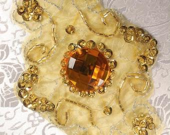 "JB35 Emma Gold Beaded Sequin Rhinestone Applique 5.75""   jb35-gl"