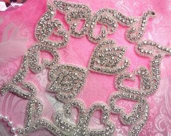 """TS84 Crystal Clear Silver Beaded Rhinestone Applique 8""""  TS84-slcr"""