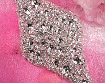 "JB48 Hot Fix Silver Beaded Crystal Rhinestone Applique 7""  JB48-slcr"