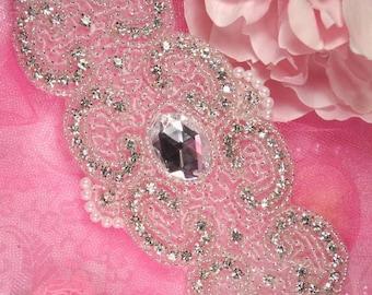 "0087 Rosezana Silver Beaded Pearl Crystal Rhinestone Applique 8""  0087-slcrp"