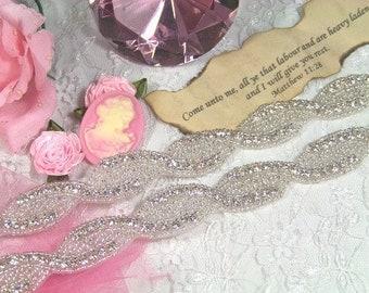 """XR21 ( Pieced at every 35"""" ) Braided Rhinestone Crystal Clear Bridal Sewing Trim (XR21-slcr)"""
