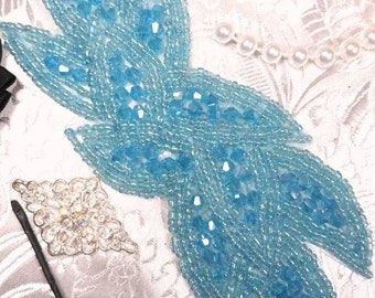 """JB31 Turquoise AB Designer Glass Beaded Applique Motif  Sewing or Crafts 6""""  JB31-(trab)"""