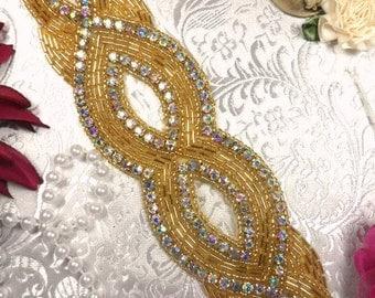 "JB9 Aurora Borealis Crystal Gold Beaded Rhinestone Applique 8.75"" JB9-glab"