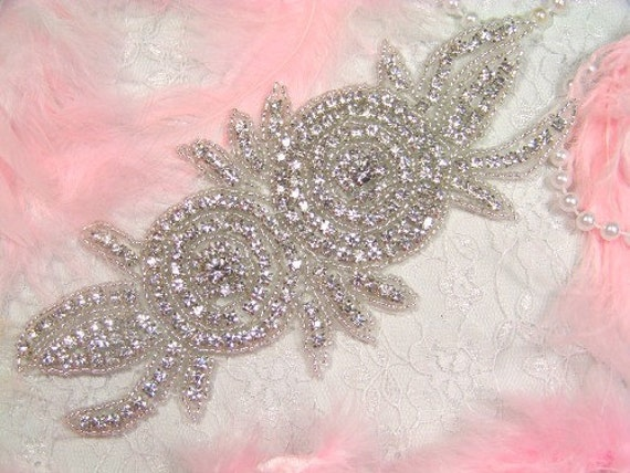 """XR17 Catherine Rose Double Floral Glass Beaded Rhinestone Applique 7.25"""""""
