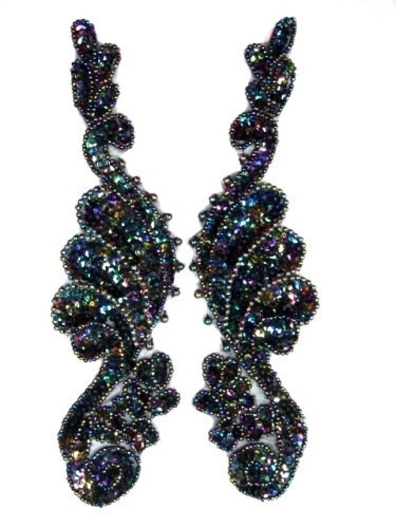 0016  Black AB Mirror Pair  Sequin Beaded Appliques 8""