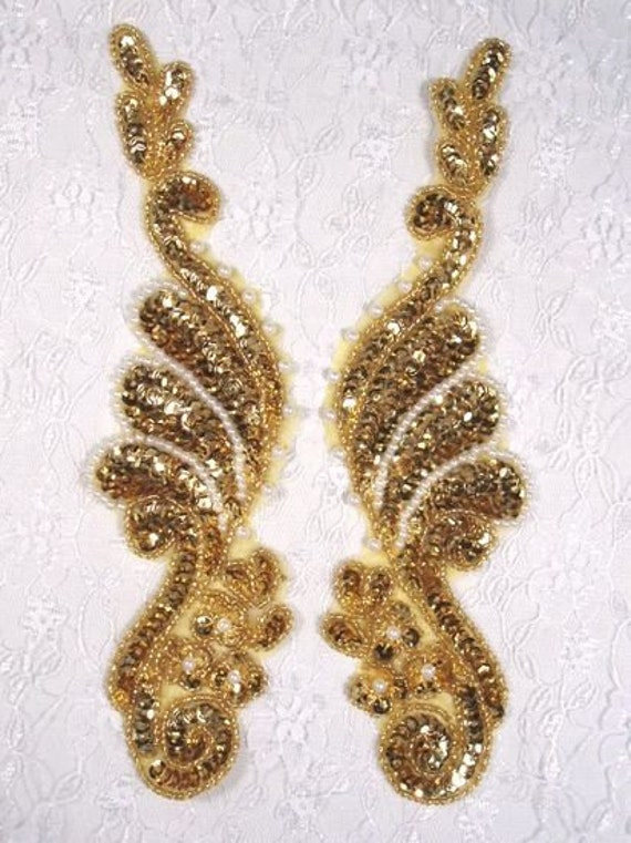 """0016 Gold Pearl Mirror Pair Sequin Beaded Appliques 8.5"""""""