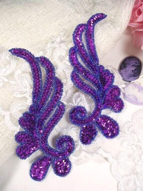 """0182 Purple Mirror Pair Sequin Beaded Appliques 6"""" 0182-pur"""