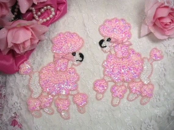 0226 Peachy Pink Poodle Dog Pair Beaded Sequin Appliques Sewing Crafts Motif Patch (0226X-PK)
