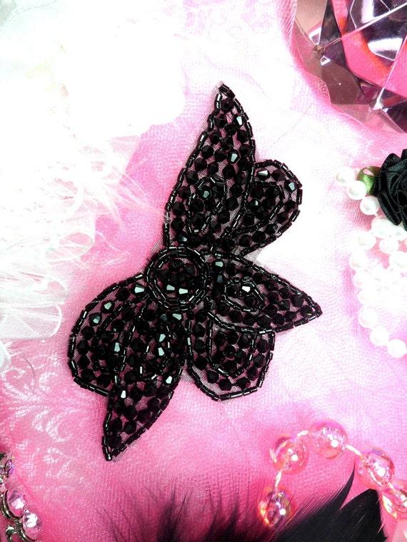 """JB62 Black  Floral Leaf Designer Glass Beaded Applique Motif  Sewing or Crafts 4.75""""  (JB62-bk)"""