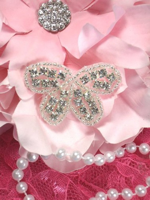 "XR133 Rhinestone Butterfly Bow Crystal Glass Silver Beaded Applique Motif  Sewing or Crafts 1.75""  (XR133-slcr)"