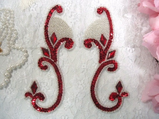 0034 Red Silver Jeweled Mirror Pair Sequin Beaded