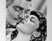 Clark Gable Vivien Leigh Gone with the Wind  Fine Art Print Signed by Artist