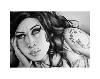 Amy Winehouse Pencil Drawing Fine Art Print Portrait Signed Print