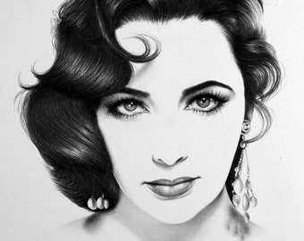 Elizabeth Taylor Portrait Minimalism Pencil Drawing Fine Art Signed Print