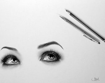 Eyes Pencil Drawing Fine Art  Signed Print