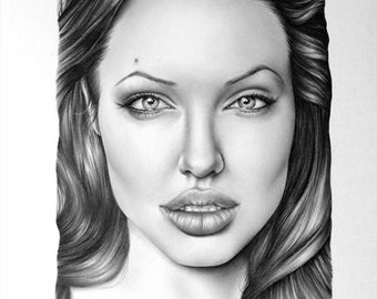 Angelina Jolie Portrait Fine Art Pencil Drawing Signed Print