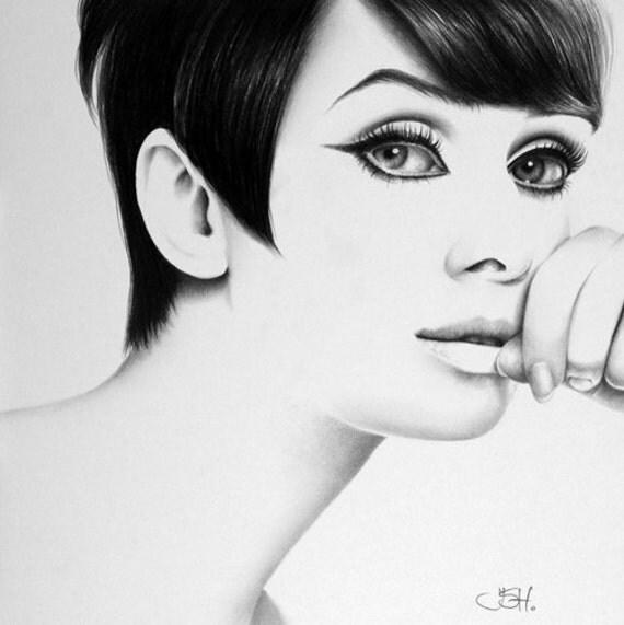 Audrey Hepburn Original Pencil Drawing Minimalism Fine Art Portrait SALE