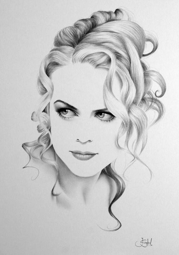 Nicole Kidman Minimalism Original Pencil Drawing Fine Art Portrait SALE
