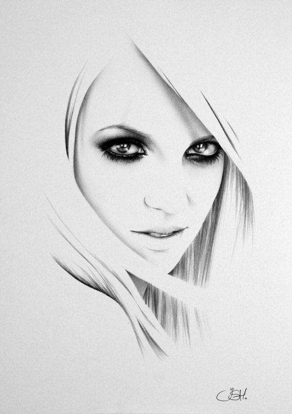 Britney Spears Minimalism Pencil Drawing Fine Art Portrait