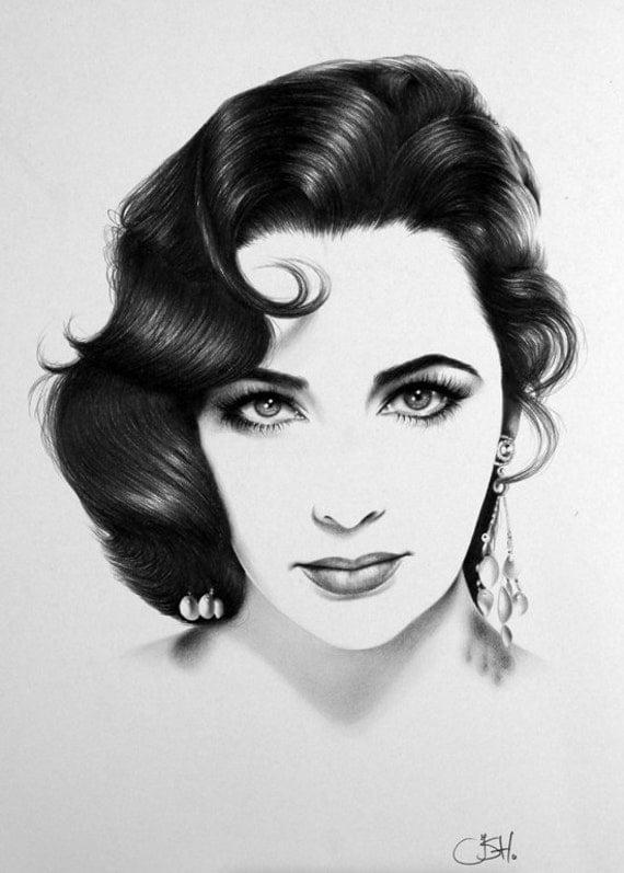 Elizabeth Taylor Portrait Minimalism Pencil Drawing Fine Art Signed Print