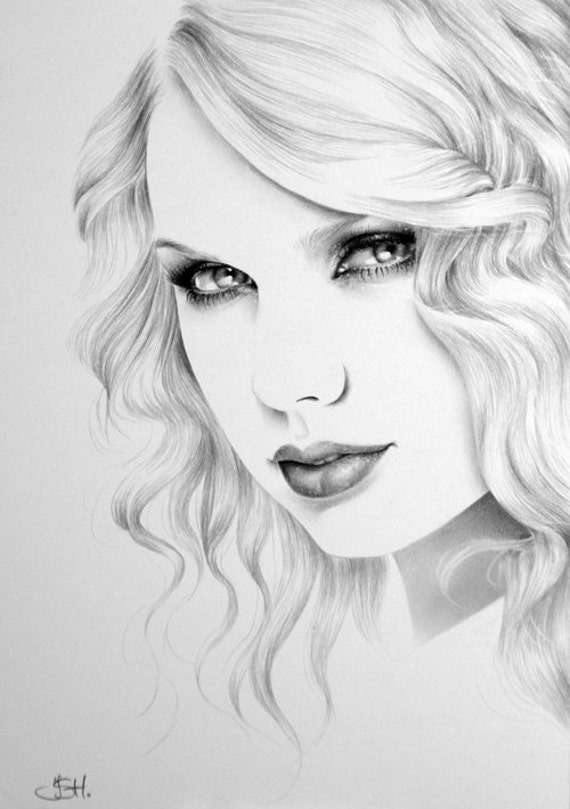 Taylor Swift Minimalism Original Pencil Drawing Fine Art Portrait SALE