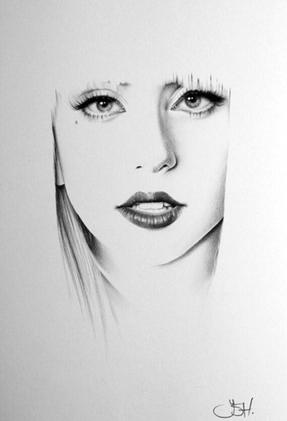 Lady Gaga Minimalism Original Pencil Drawing Fine Art Portrait
