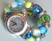 Sea Breeze - intercheable, stretchy, double stranded watch band bracelet in tones of blue and green