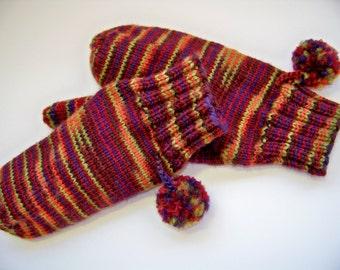 Wool Mittens Hand Knit Wool - Harvest Pom Pom