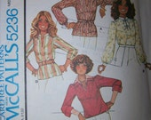 Womens Sewing Pattern - Blouse Top Long Sleeve - McCalls Carefree 5236- Buy 2 Get 1 FREE Sale