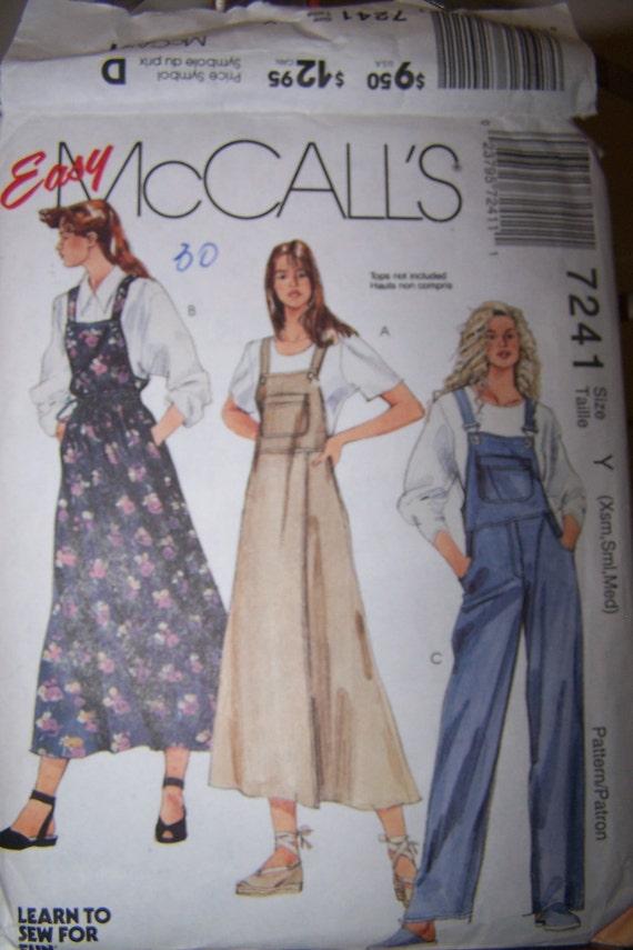 Womens Sewing Pattern Jumper Dress Overalls McCalls Sew