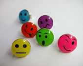 Colorful Stud Earrings - FUN WOW...Facial Expression, Funny, Mood, Post Earrings