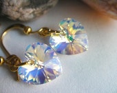 Aurora Borealis Swarovski Heart Crystal Earrings, Crystal Heart Earrings, Swarovski Crystal Earrings, Bridal Jewelry, Bridesmaids