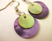 Round Seashell  Earrings - Puple, Green Dangle Circle Sea Shell Earrings