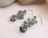Smoky Blue Swarovski Crystal Earrings, Blue Crystal Earrings, Blue Swarovski Earrings, Blue Earrings, Wedding, Bridal Jewelry, Bridesmaids