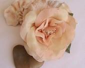 Wild Rose Hair Clip - Clip for Hair, Wrist Corsage, Hat, Outfit - Orange Peach Silk Flower, Flower Hair Clip, Bridal Hair Piece, Wedding