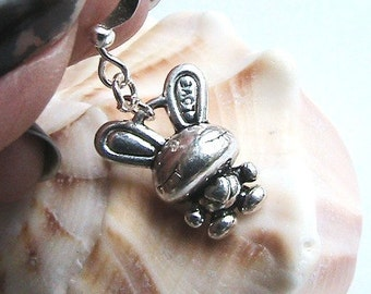 Bunny Earrings, Silver Bunny Earrings, Silver Rabbit Earrings, Love Bunny Earrings, Cute Bunny Earrings, Adorable Bunny Earrings