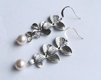 Silver Orchid Earrings, Bridal Earrings Bridal Jewelry Personalized Bridesmaid Earrings Bridesmaid Jewelry