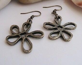 Flower Earrings, Unique Floral Earrings, Dangle Earrings, Flower Dangle Earrings, Clipons, Clip ons