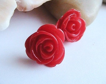 Red Rose Earrings, Red Flower Earrings, Bright Red  Flower Earrings, Red  Earrings, Post, Studs,  vintage, antique