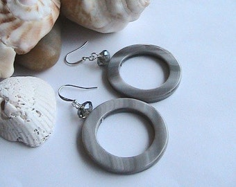 Gray/Brown Natural Seashell Round Earrings, Silver Gray seashell earrings, Long, Dangle Earrings, Bold, Sexy, Simple, Hoop, Loop