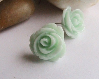 Mint Green Rose Earrings, Mint Green Flower Earrings, Green Rose Earrings, Green Flower Earrings, Teal Rose, Rose Cabochons, Post , Studs