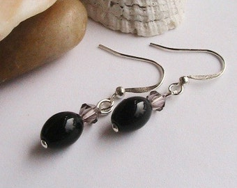 PIF Earrings - Little Black Dress - Black, and Grey Beads Dangle Earrings