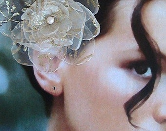 Gold Flower Hair Clip, Gold Organza Hair Clip, Gold Hair accessories.  Ivory, beige, off white, Wedding, Bridal, Bridesmaids, Bride