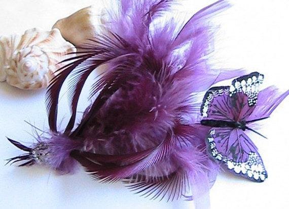 Dramatic Feather Hair Clip, Purple Hair Clip, Purple Facinator,  mauve, purple, butterfly, feather, Wedding, Bridal, Bridesmaids