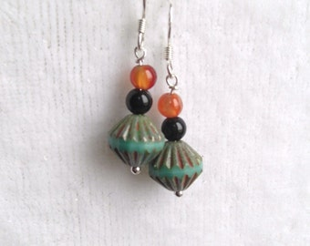 Czech Glass and Agate earrings
