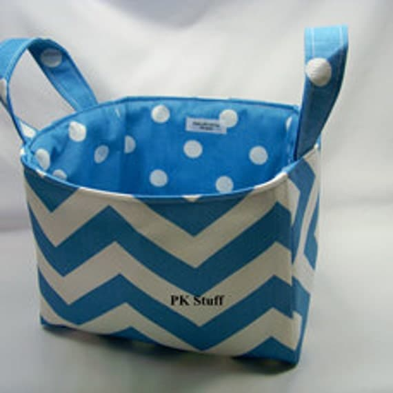 PK Fabric Basket in Chevron in Icy Blue  - Ready To Ship