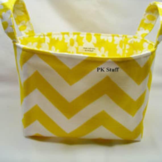 PK Fabric Basket in Chevron in Sunshine Yellow  - Ready To Ship