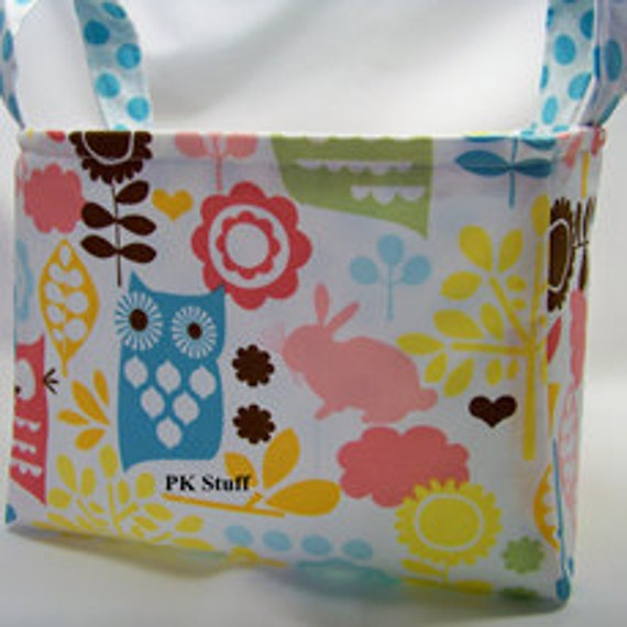 PK Fabric Basket in Forest Life in Watermelon - Ready To Ship