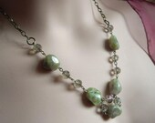 Green Necklace With Antiqued Bronze Chain Chunky Garnet Stone Choker Rustic  Style Energy Jewelry