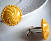 Button Cuff Links - Retro Inspired Golden Yellow - Unisex